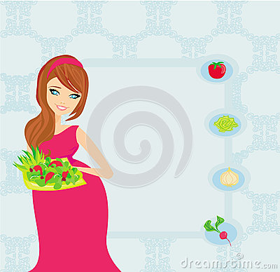 Pregnant girl with a plate of salad