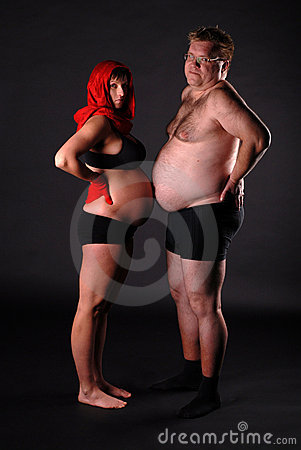 Pregnant lady with fat man