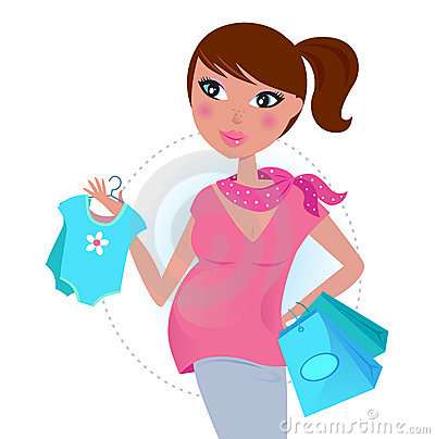 Free Pregnant Mom On Shopping For Baby Boy Stock Photo - 18511260
