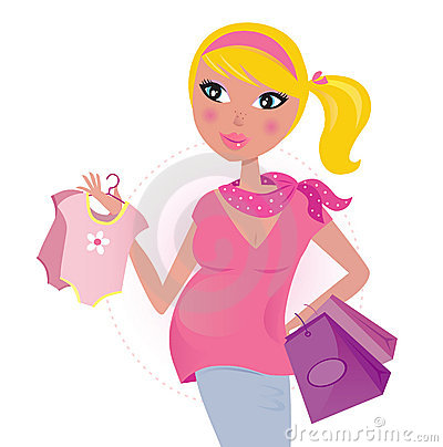 Free Pregnant Mom On Shopping For Child / Baby Girl Stock Photo - 18511240