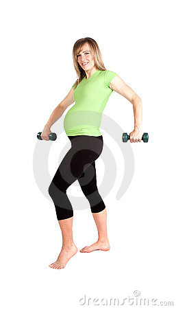 Pregnant weights arms down.