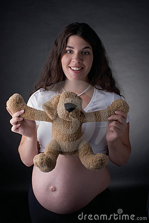 Free Pregnant Woman And Stuff Dog Stock Photos - 380663