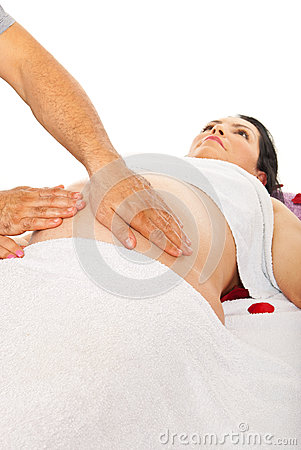 Pregnant woman belly massage