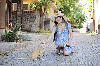 Pregnant Woman and Cat