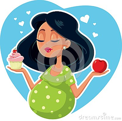 Free Pregnant Woman Choosing Between Apple And Cupcake Royalty Free Stock Image - 112774166