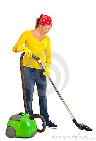 Free Pregnant Woman Clean With Vacuum Stock Photography - 20254672