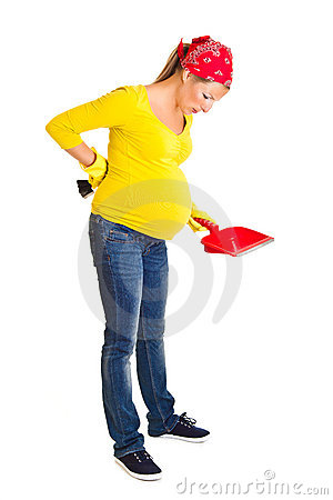 Free Pregnant Woman Cleaning Royalty Free Stock Image - 20254896