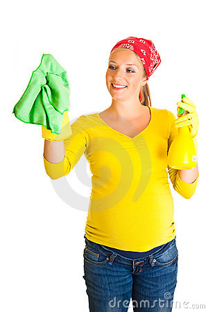 Free Pregnant Woman Cleaning Glass Royalty Free Stock Image - 20254856