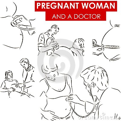 Pregnant woman and a doctor