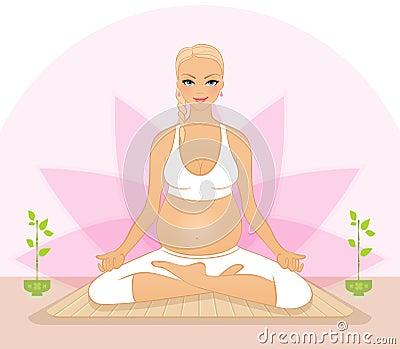 Pregnant woman doing yoga exercises