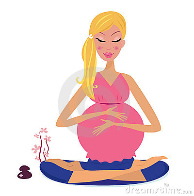 Pregnant woman doing yoga lotus position
