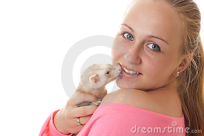 Pregnant woman with ferret.