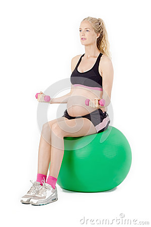 Free Pregnant Woman Fitness. Bicep Curl Exercise Stock Photography - 59616202