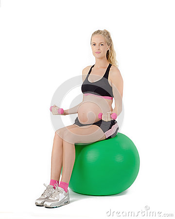 Free Pregnant Woman Fitness. Bicep Curl Exercise Stock Photos - 63842993