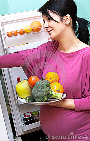 Pregnant woman with food