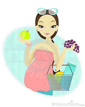 Pregnant woman and fruits