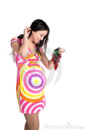 Pregnant woman with grape