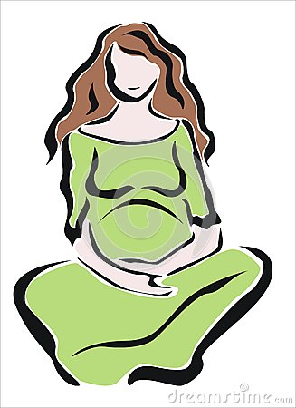 Pregnant woman with green dress