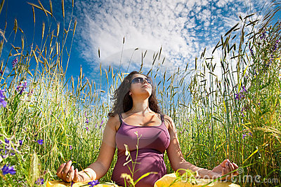 Pregnant woman on green grass field under blue sky