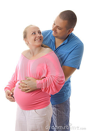 Pregnant woman with her husband.