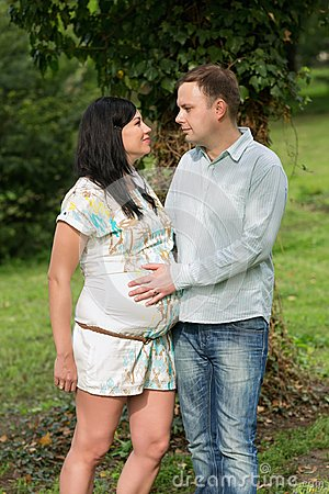 Pregnant woman with his husband