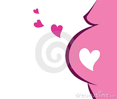 Pregnant Woman Icon With Heart (pink)
