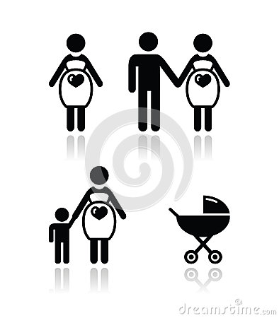 Pregnant woman  icons set