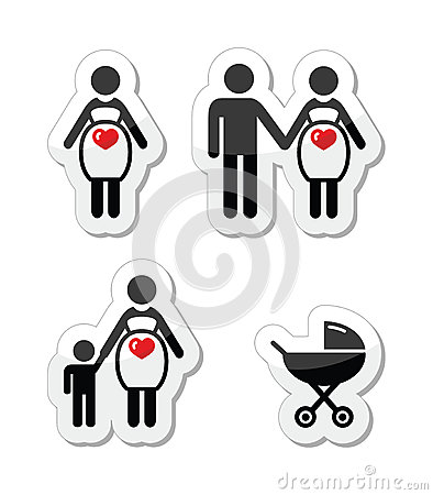 Pregnant woman  icons set