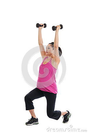 pregnant woman lifting weights royalty free stock