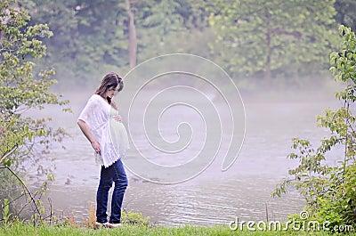 Pregnant woman peaceful
