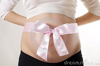 Pregnant Woman with Pink Bow Around Belly
