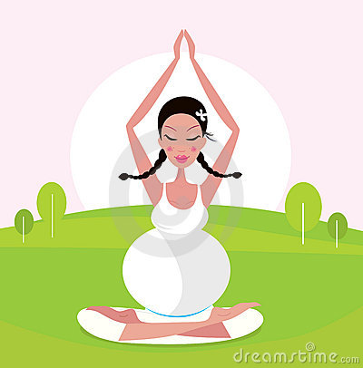 Pregnant woman practicing yoga asana in park