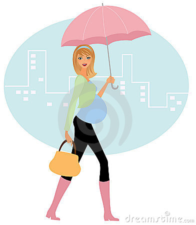 Pregnant woman in the rain