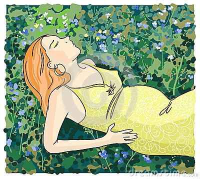 Pregnant woman relaxing on grass illustration.