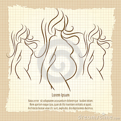 Pregnant Woman Silhouettes Vintage Poster Stock Vector ...