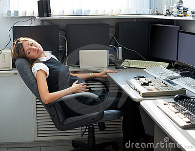 Pregnant woman sleeps at work
