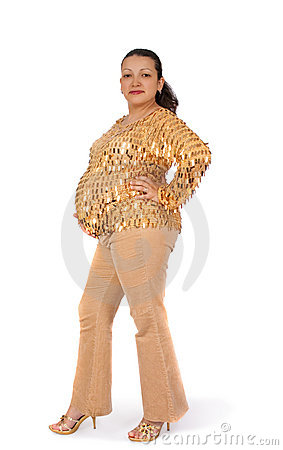 Pregnant woman standing upright