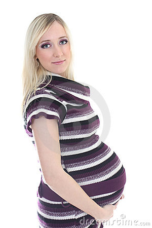 Pregnant woman in stripes dress