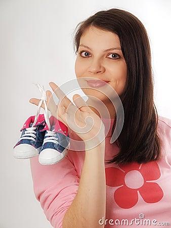 Pregnant woman in studio