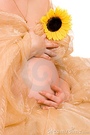 Pregnant woman with sunflower