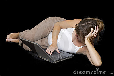 Pregnant woman surfing the net