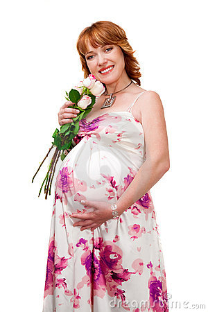 Pregnant woman wearing evening dress