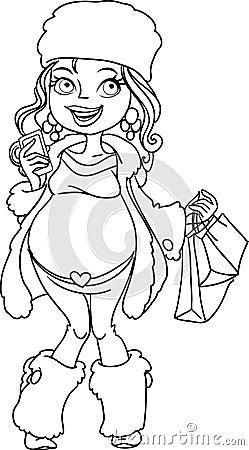 Pregnant woman in winter wear