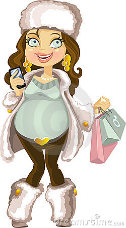 Pregnant woman in winter wear with phone