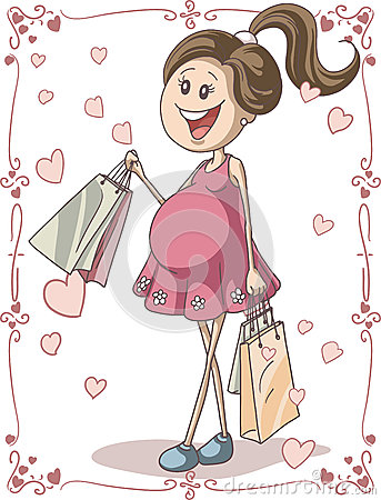 Free Pregnant Woman With Shopping Bags Stock Photography - 33331432