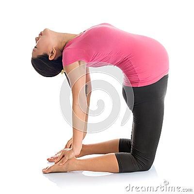 pregnant yoga position camel pose stock photo  image