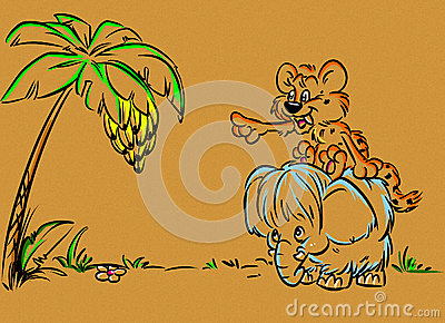 Prehistoric age little mammoth and tiger