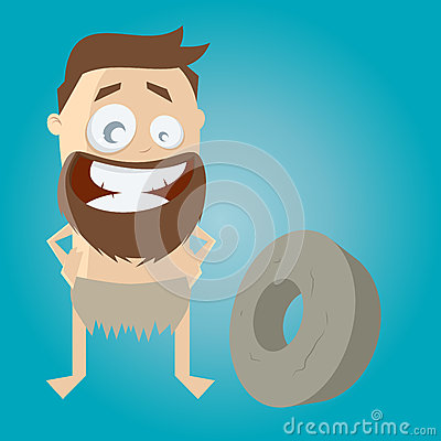 Prehistoric cartoon man with wheel