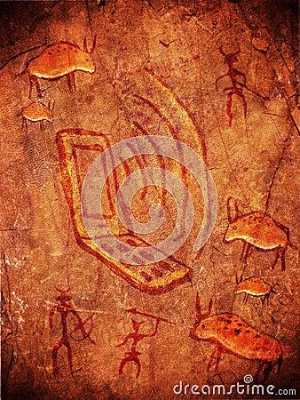 Prehistoric cave paint