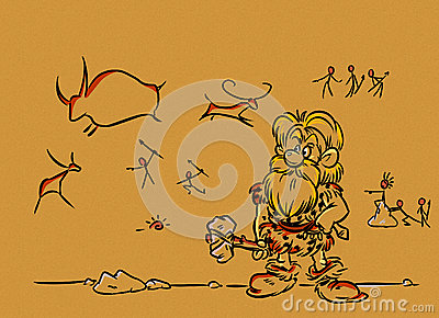 Prehistoric caveman artist, rock paintings